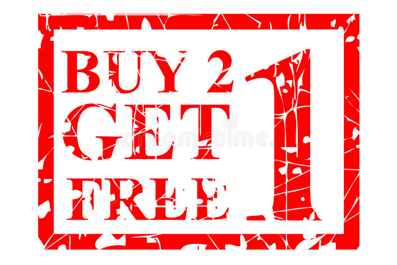 El sello de goma, compra una consigue uno libre, aislado en blanco stock de ilustración
