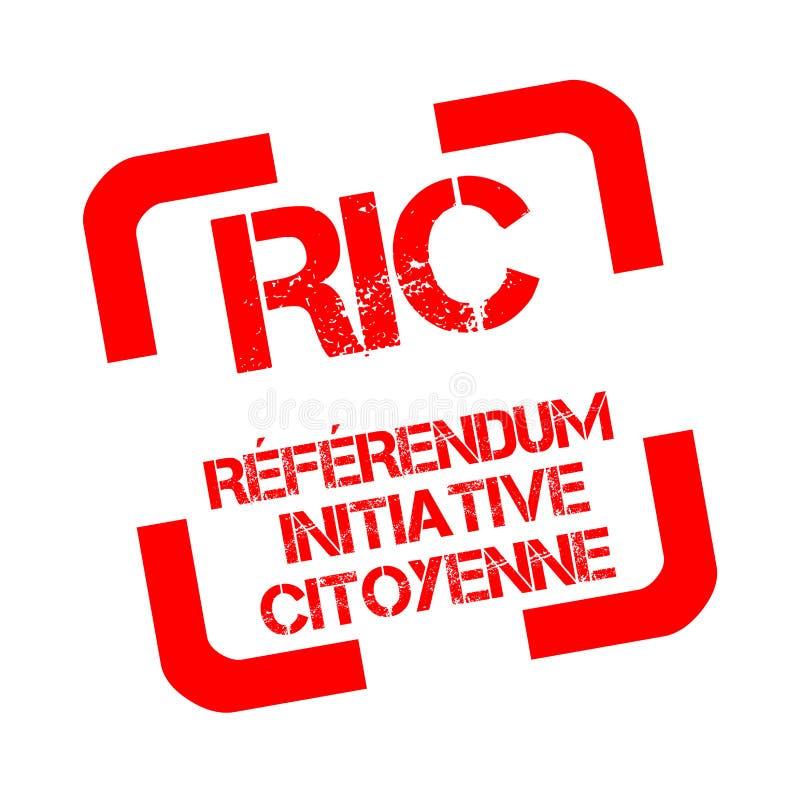 El sello de goma con los referéndums preliminares de los ciudadanos del texto llamó RIC en francés libre illustration