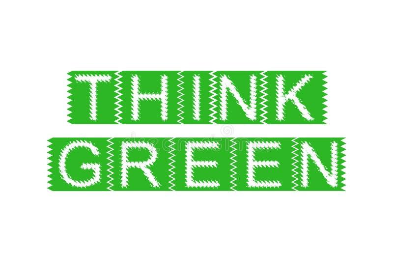 El sello de goma con el texto piensa verde libre illustration