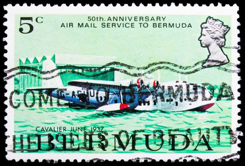 El sello de póster impreso en Bermudas muestra el buque británico Cavalier Flying Boat, 1937, Airmail service to Bermuda, serie d imágenes de archivo libres de regalías