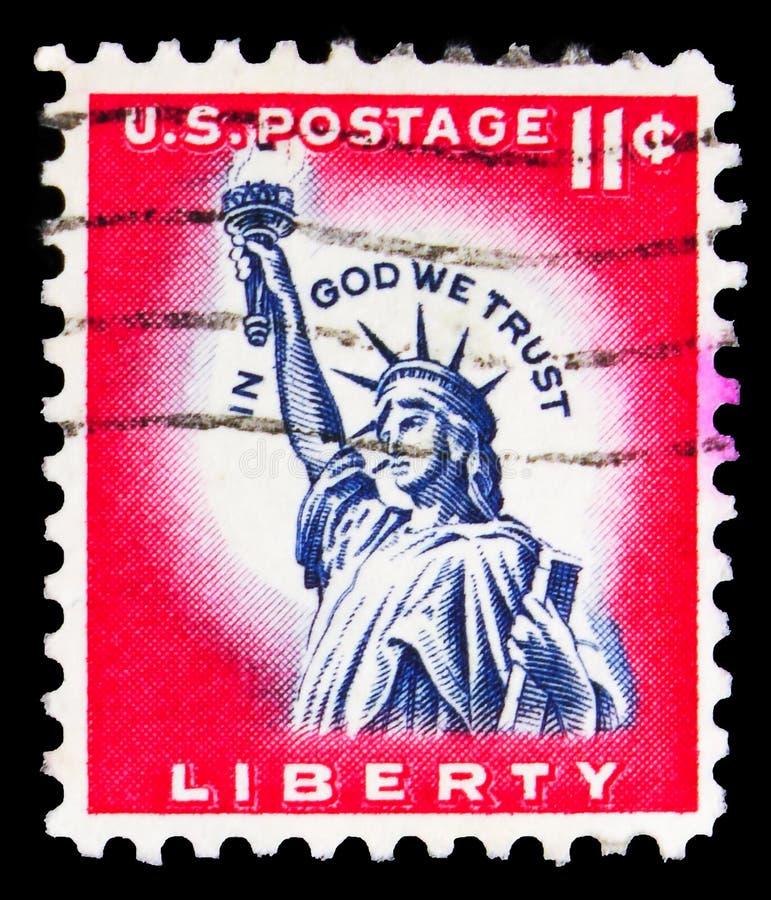 El sello de póster impreso en Estados Unidos muestra la Estatua de la Libertad 1875, Liberty Island, Nueva York, serie, alrededor foto de archivo