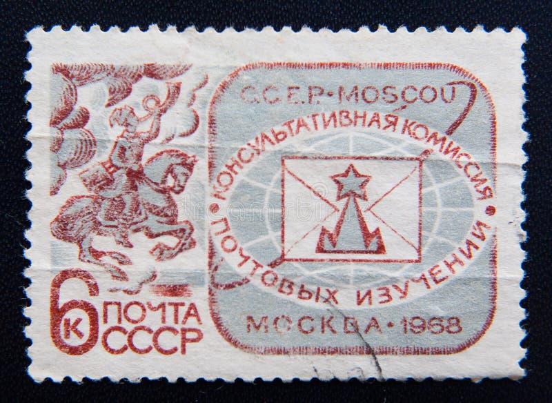 El sello de URSS muestra a Moscú el comité consultivo para los estudios postales, circa 1968 imagen de archivo libre de regalías