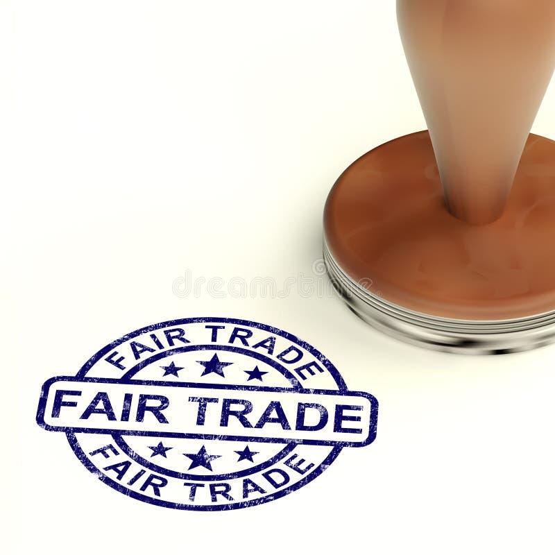 El sello del comercio justo muestra la producción y productos éticos stock de ilustración
