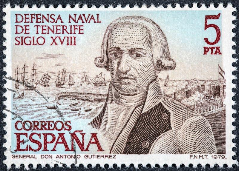 El sello impreso en España muestra a general Antonio Gutierrez fotos de archivo libres de regalías