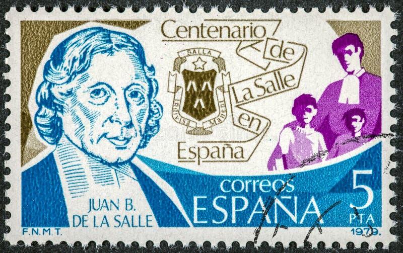 El sello impreso en España muestra a Juan B De La Salle fotografía de archivo libre de regalías