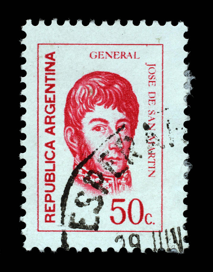 El sello impreso en la Argentina muestra a Jose de San Martin foto de archivo libre de regalías