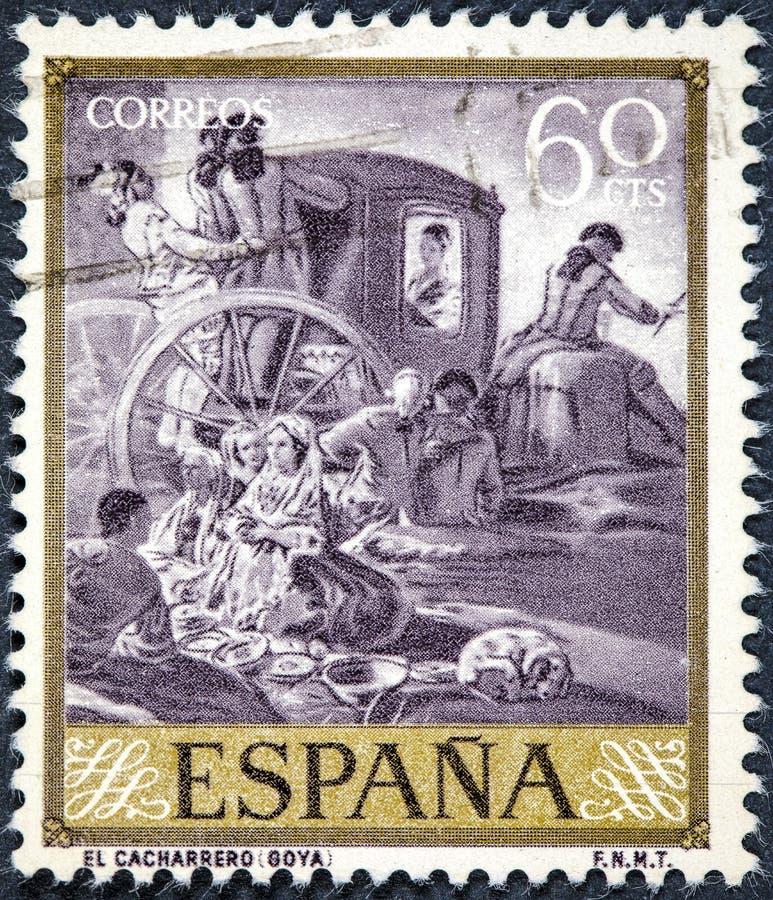 El sello impreso por España muestra al alfarero pintado por Goya imagen de archivo libre de regalías