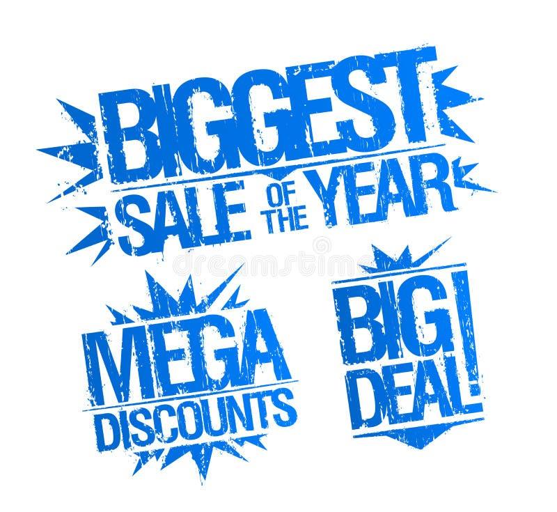 El sello más grande de la venta fijado - la venta más grande del año, de los descuentos mega y del sello de la gran cosa ilustración del vector