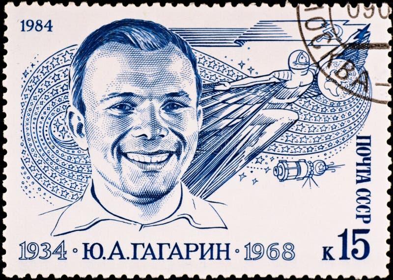 El sello muestra a Yuri Gagarin fotos de archivo