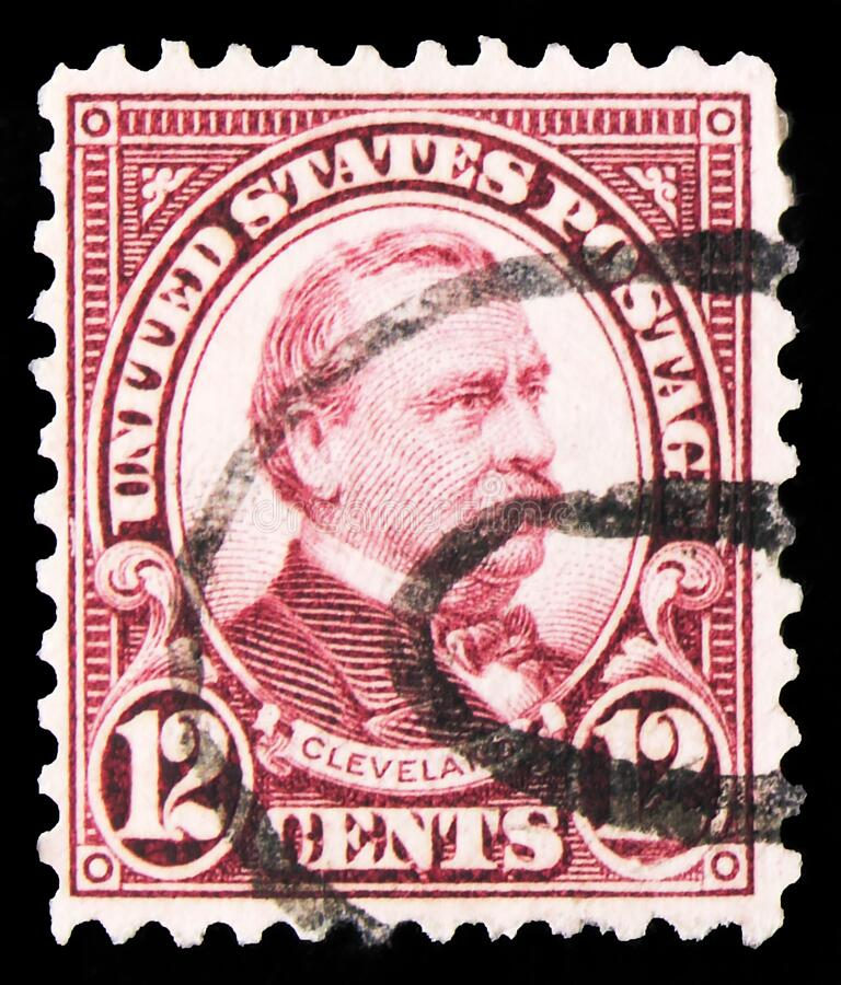 El sello postal impreso en Estados Unidos muestra Grover Cleveland (1837-1908), 22 y 24 presidente de Estados Unidos, 1922-1926 e imágenes de archivo libres de regalías