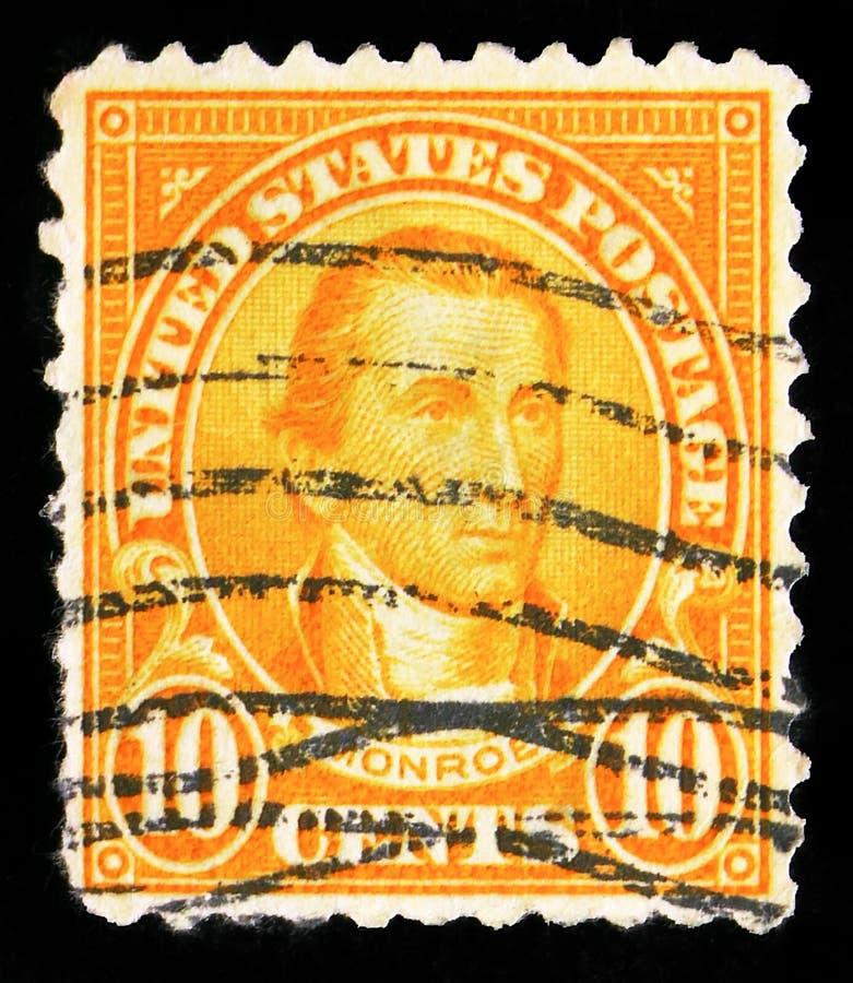 El sello postal impreso en los Estados Unidos muestra a James Monroe (1758-1831), Quinto Presidente de los Estados Unidos, serie  fotografía de archivo libre de regalías