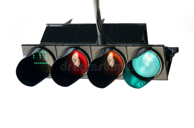 El semáforo en un fondo blanco imagen de archivo