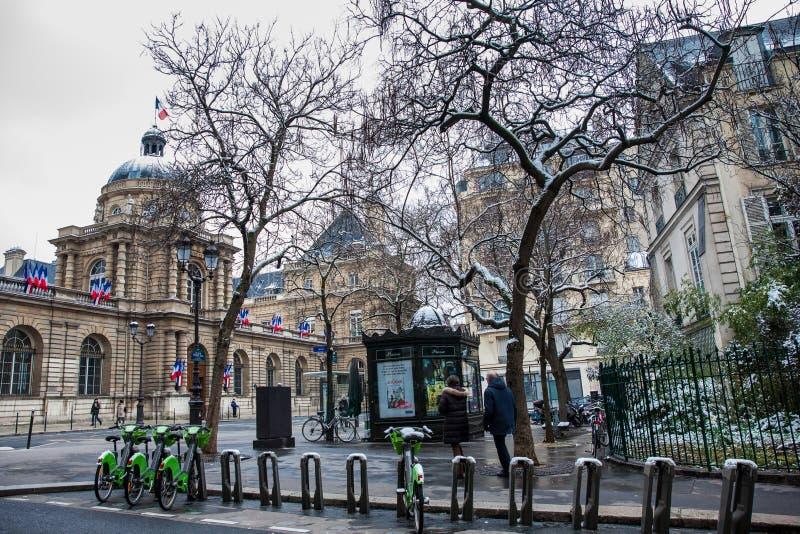 El senado de Francia localizó en el palacio de Luxemburgo en el 6to arrondissement de París fotografía de archivo libre de regalías