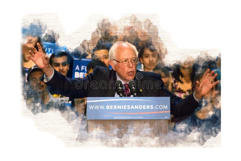 El senador Bernie Sanders hace campaña por la nominación democrática fotos de archivo