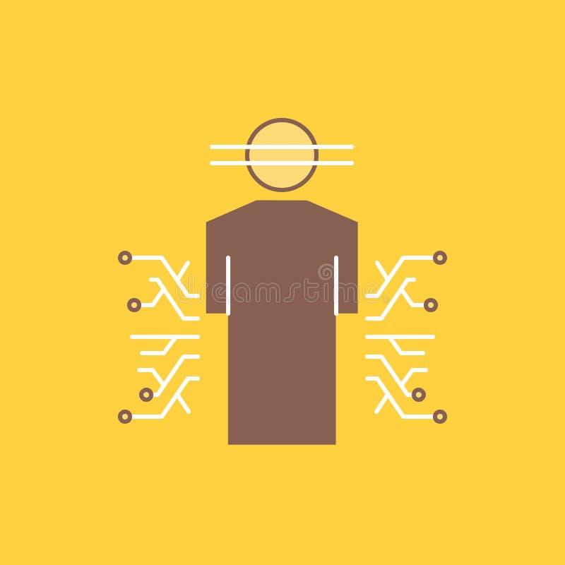 El sensor, cuerpo, datos, humanos, línea plana de la ciencia llenó el icono Bot?n hermoso del logotipo sobre el fondo amarillo pa stock de ilustración