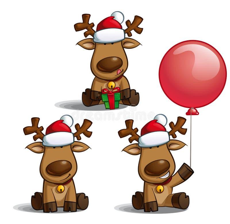 El sentarse de los alces de la Navidad stock de ilustración