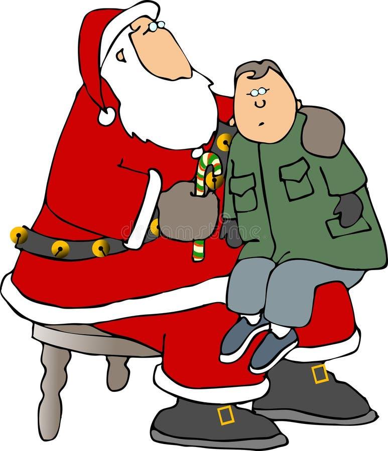 El sentarse en la rodilla de Santa stock de ilustración