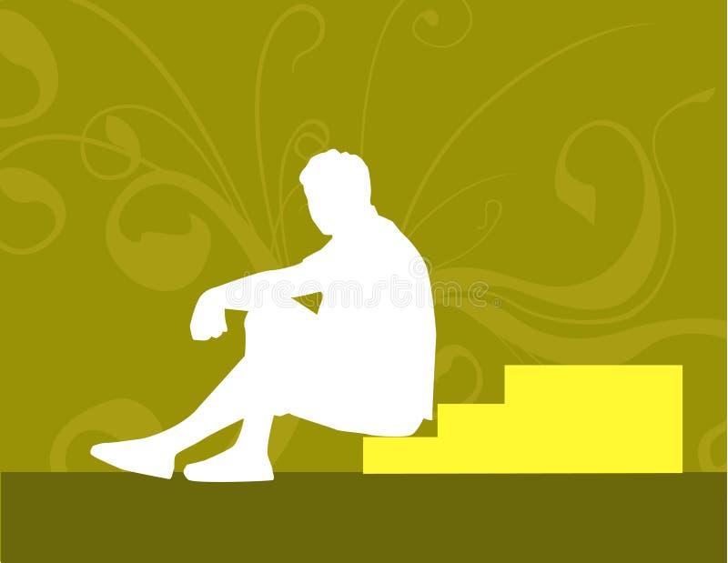 El sentarse en las escaleras ilustración del vector
