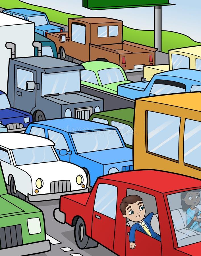 El sentarse en tráfico stock de ilustración