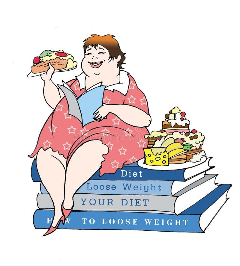 El sentarse en una dieta ilustración del vector