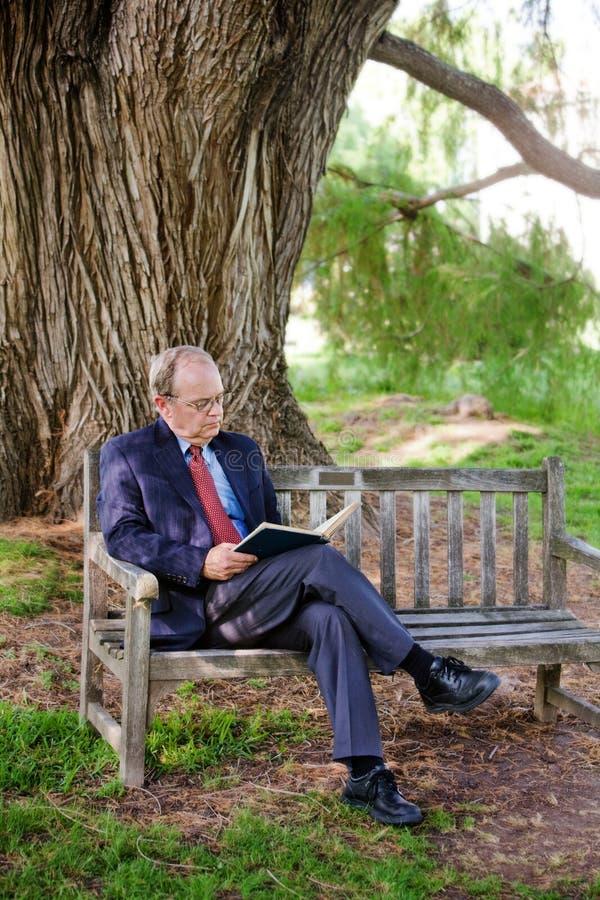 El sentarse en una lectura del banco fotos de archivo