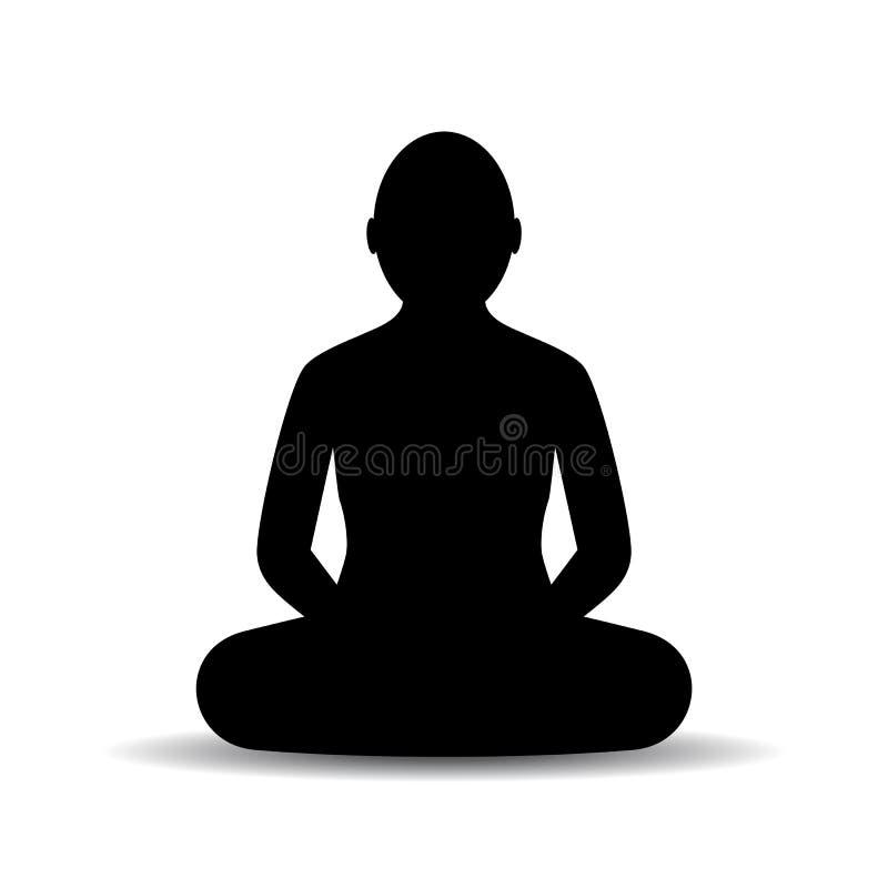 El sentarse meditando la silueta del vector de la persona ilustración del vector