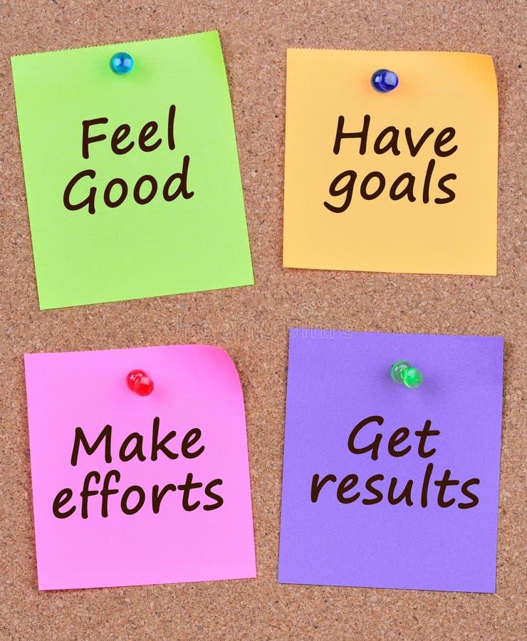 El sentir bien hace las metas hagan que esfuerzos consiguen resultados en notas fotografía de archivo
