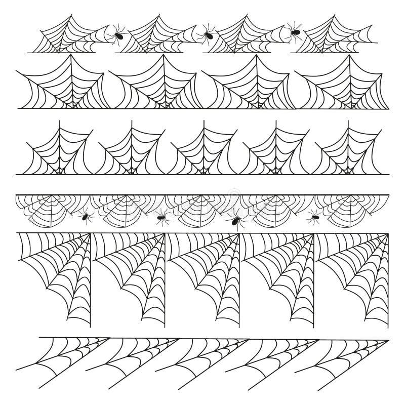 El separador y los divisores de la frontera del marco del vector de la telaraña de Halloween alinean aislado en blanco con el web ilustración del vector