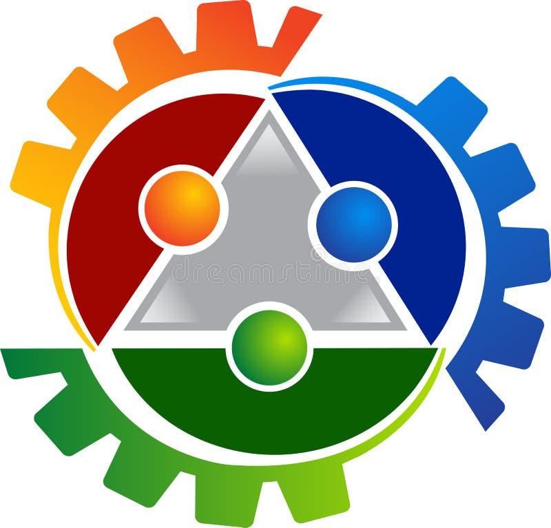 El ser humano engrana insignia ilustración del vector