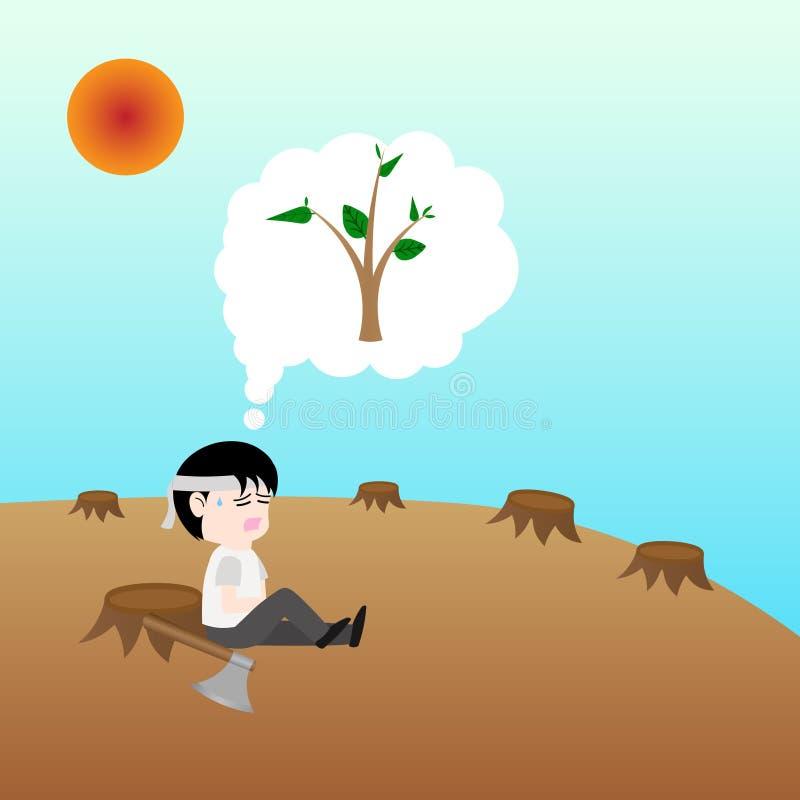 El ser humano era despuebla de árboles pero él tiene árbol todavía perdido, reserva del concepto la tierra stock de ilustración