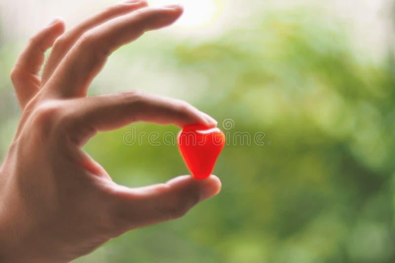 El ser humano escoge para arriba el pedazo a dedo de fondo rojo de la naturaleza del verde de la falta de definición del corazón fotografía de archivo