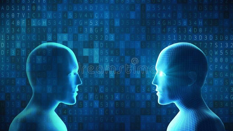 El ser humano lucha el robot con código de datos de la calculadora numérica en backg azul stock de ilustración