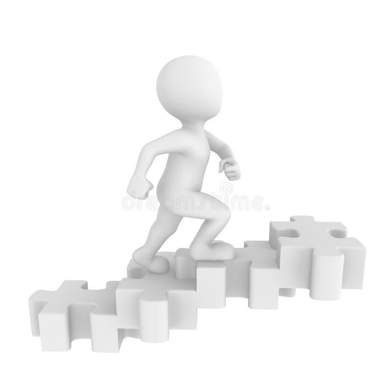 El ser humano va para arriba en una escalera del rompecabezas libre illustration