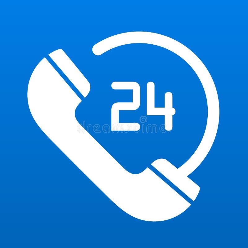El servicio de atención al cliente 24 horas llama por teléfono a símbolo del icono stock de ilustración