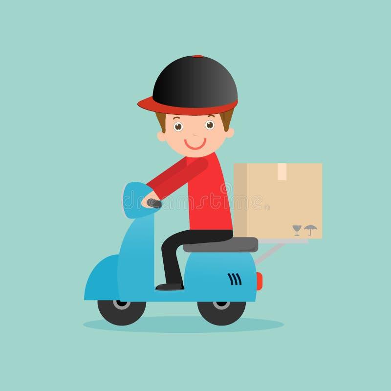 El servicio de entrega, hombre de entrega está montando la bici del motor, rápidamente y el transporte libre, inconformista del h ilustración del vector
