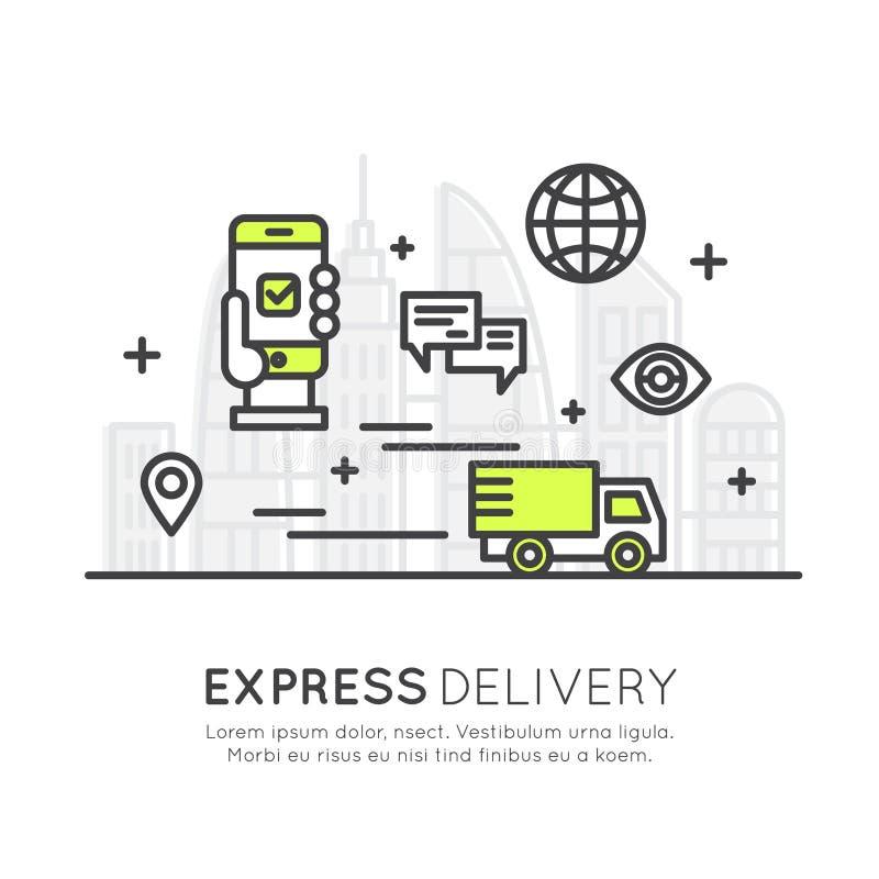 El servicio de envío express rápido con el móvil que sigue y rápidamente compra, sistema elegante ilustración del vector