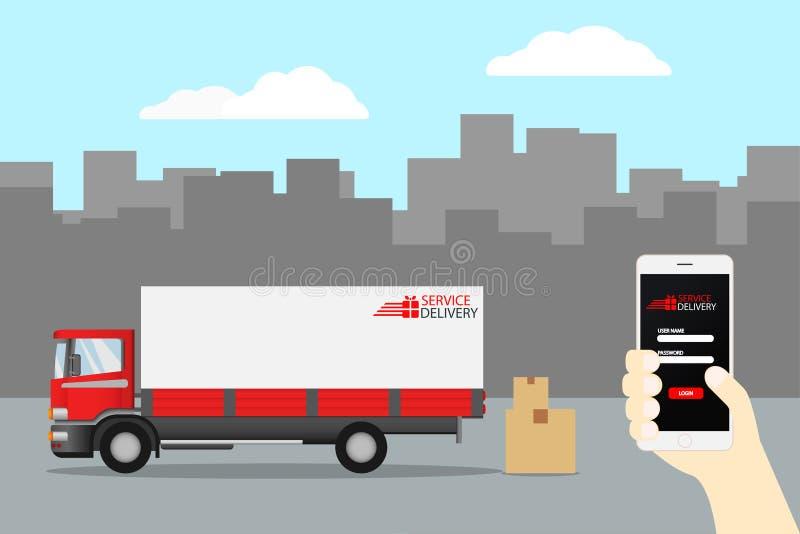 El servicio del camión de reparto, pide el envío mundial, rápidamente y libera el transporte, comida expresa, compras en línea ap ilustración del vector