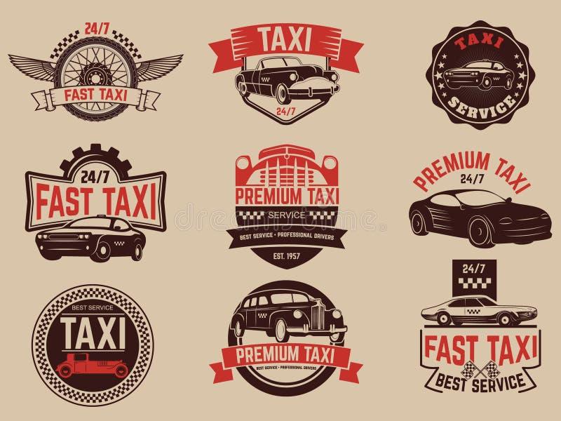 El servicio del taxi etiqueta y simboliza la plantilla Servicio del taxi stock de ilustración