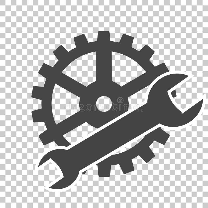 El servicio del vector equipa el icono en fondo transparente ilustración del vector