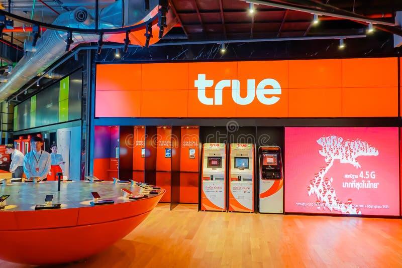 El servicio verdadero de la tienda del movimiento a los clientes y a la gente en el icono Tailandia Bangkok, el icono Tailandia e foto de archivo