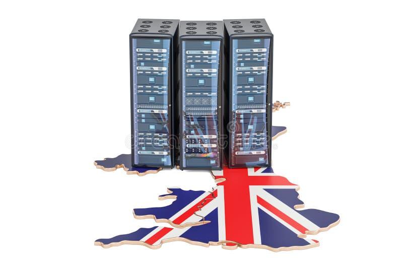 El servidor del centro de datos atormenta en el concepto de Reino Unido, representación 3D libre illustration
