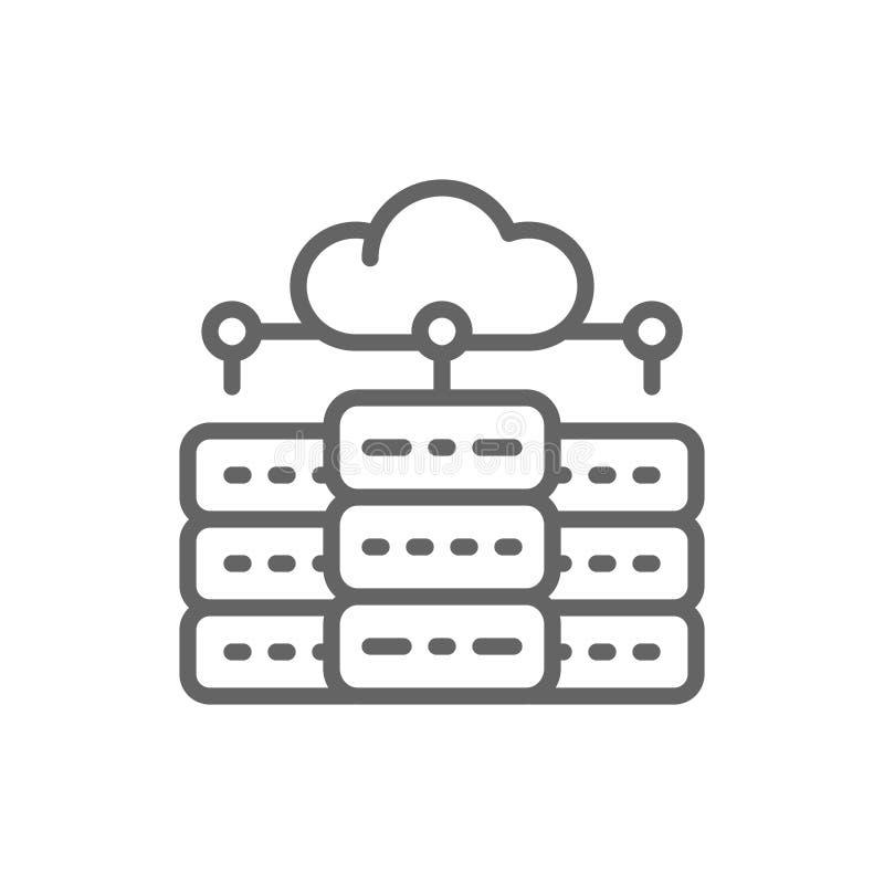 El servidor del web hosting, centro de datos, distribuy? la l?nea icono de la base de datos ilustración del vector