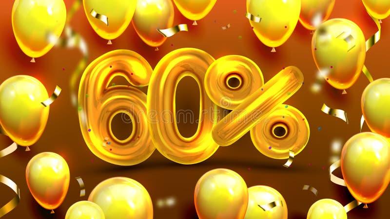 El sesenta por ciento o vector de comercialización de la oferta de la venta 60 ilustración del vector