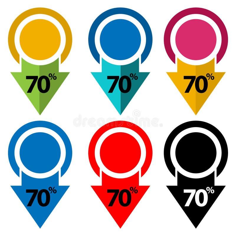 El setenta por ciento abajo, hacia abajo ejemplo de la flecha ilustración del vector