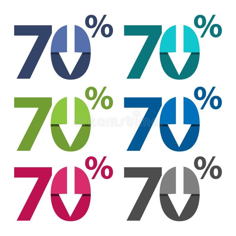 El setenta por ciento abajo, hacia abajo ejemplo de la flecha stock de ilustración