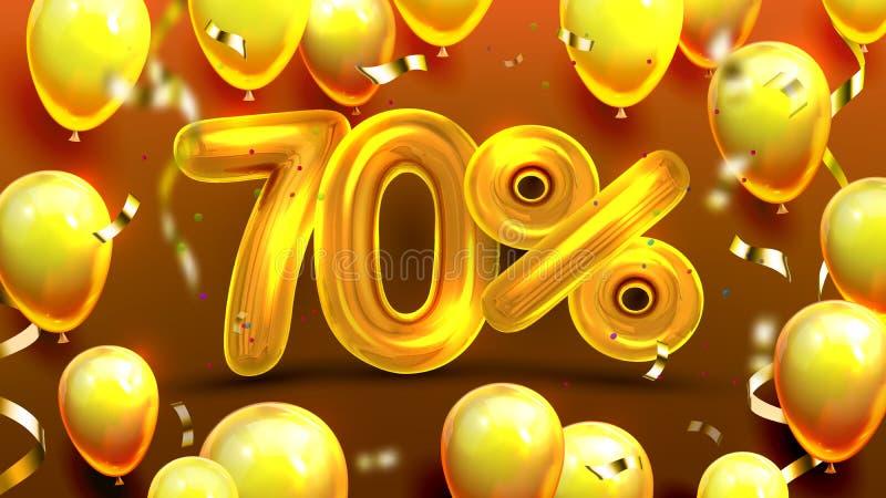 El setenta por ciento o vector de comercialización de la oferta 70 ilustración del vector