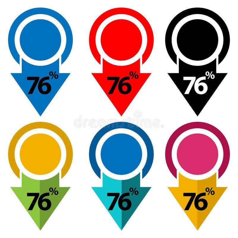El setenta y seis por ciento abajo, hacia abajo ejemplo de la flecha stock de ilustración