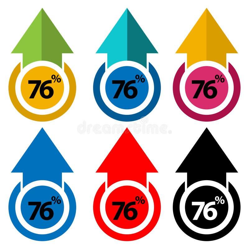El setenta y seis por ciento para arriba, ejemplo ascendente de la flecha stock de ilustración