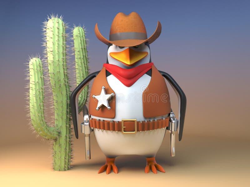 El sheriff del oeste salvaje del pingüino del vaquero se mantiene firme por el cactus, ejemplo 3d ilustración del vector