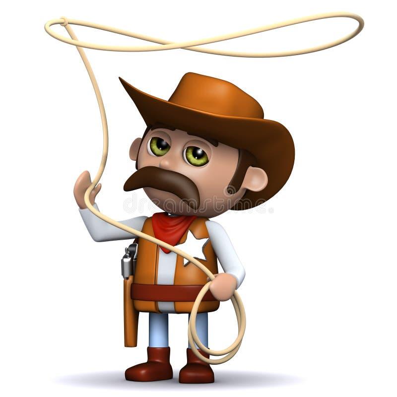 el sheriff del vaquero 3d balancea su lazo ilustración del vector